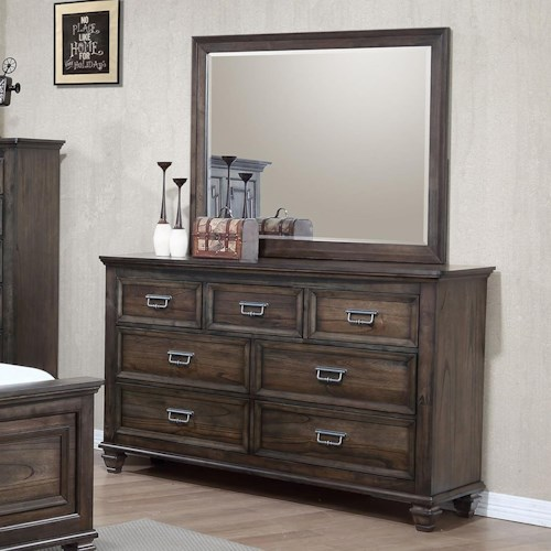 Crown Mark Campbell 7 Drawer Dresser and Mirror Set