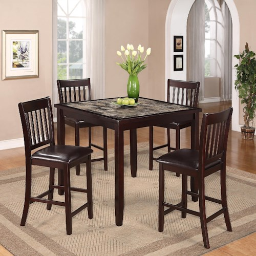 Crown Mark Cascade 5 Piece Counter Height Dinette with Faux Marble Table Top