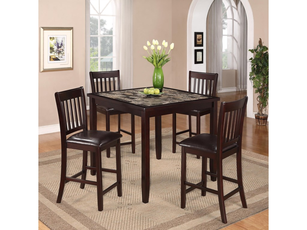 Cascade 5 Piece Counter Height Dinette With Faux Marble Table Top By Crown Mark