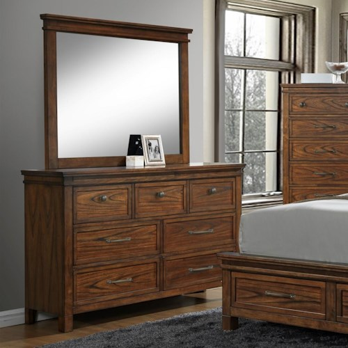 Crown Mark Cassidy Dresser and Mirror Set with Prominent Wood Grain