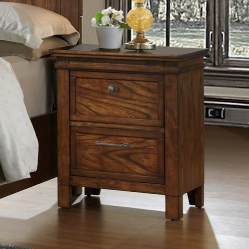 Crown Mark Cassidy Nightstand with 2 Drawers and Prominent Wood Grain