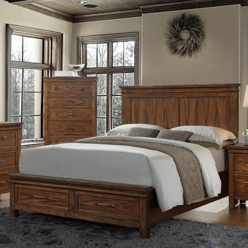 Crown mark cassidy king panel bed with storage drawers for Furniture r us fayetteville nc