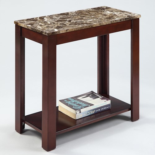 Crown Mark Chairside Tables Rectangular Chairside Table with Faux Marble Top