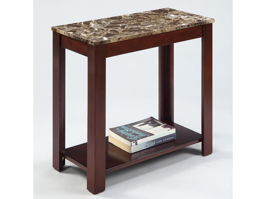 Crown mark chairside tables 7266 rectangular chairside table with faux marble top dunk bright furniture end tables