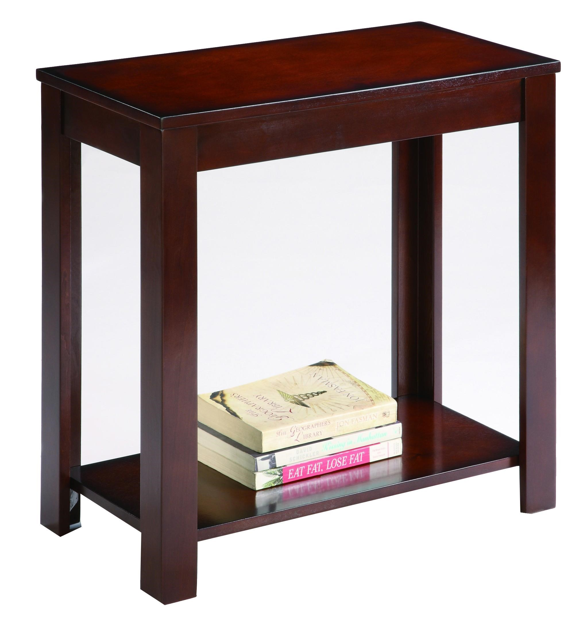 Contemporary Chairside Table with Bottom Shelf
