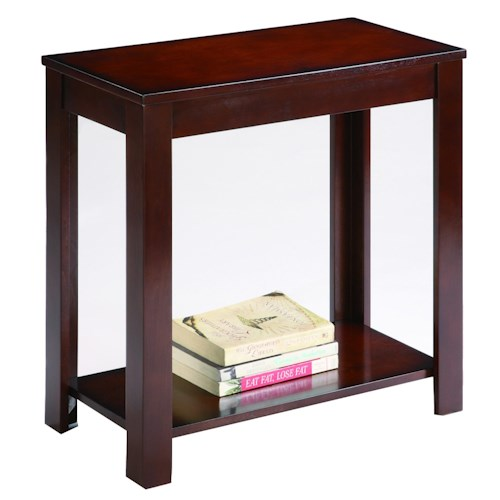 Crown Mark Chairside Tables Contemporary Chairside Table with Bottom Shelf