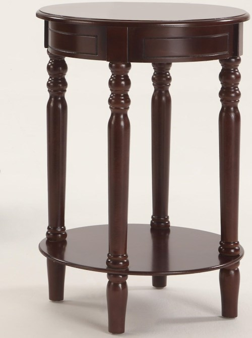 Crown Mark Chairside Tables Laurel Brown Round Chairside Table with 1 Lower Shelf