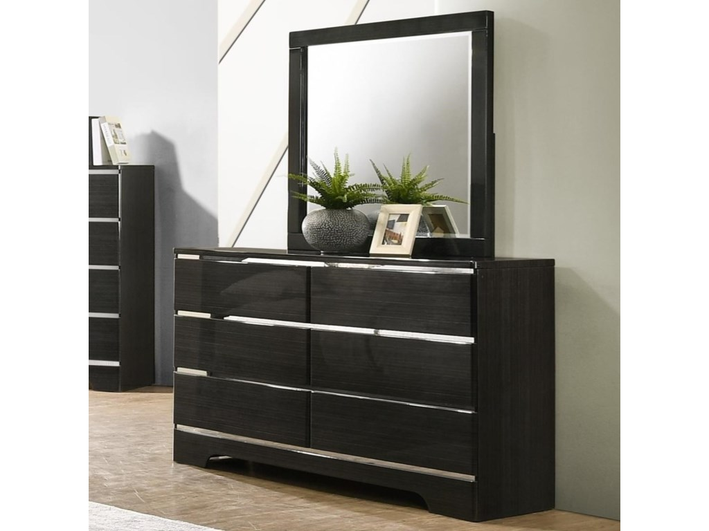 Crown Mark Chantal Contemporary 6 Drawer Dresser And Mirror Combo