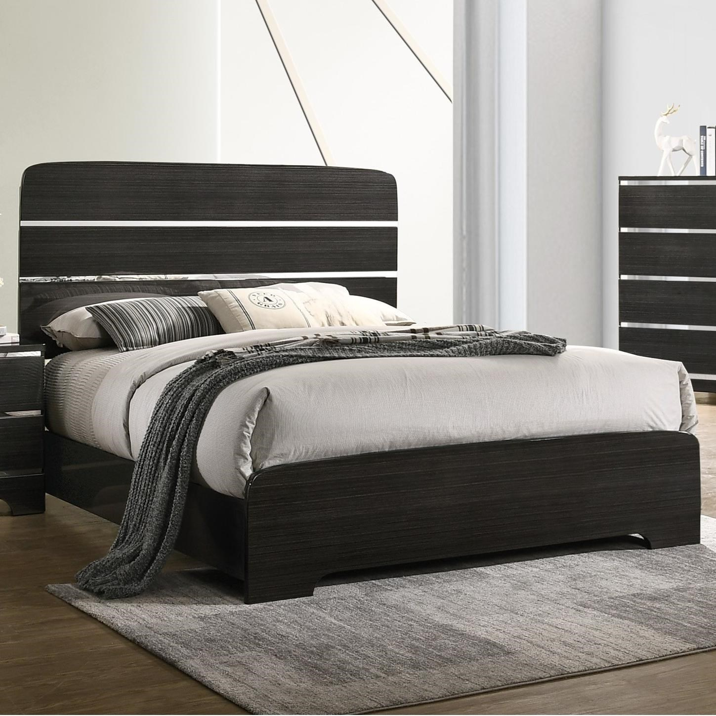 Chantal Contemporary Queen Bed With Silver Accents By Crown Mark At Dunk Bright Furniture