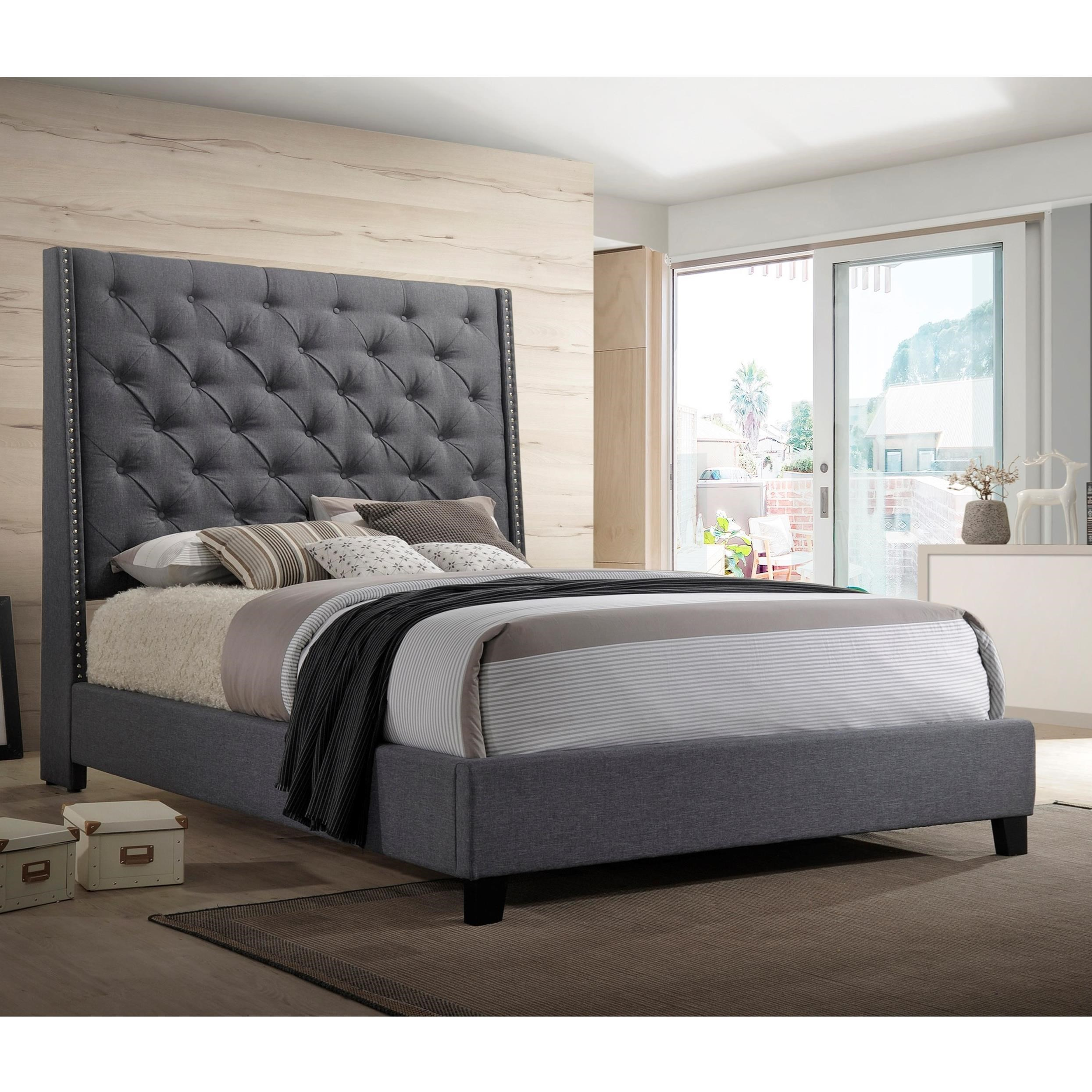 Crown Mark Chantilly Bed King Upholstered Bed With Button Tufted Headboard Royal Furniture Upholstered Beds