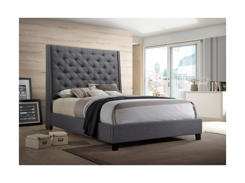 Crown Mark Chantilly BedKing Upholstered Bed