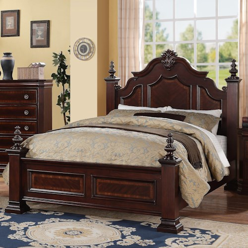 Crown Mark Charlotte King Traditional Bed with Decorative Posts and Finials