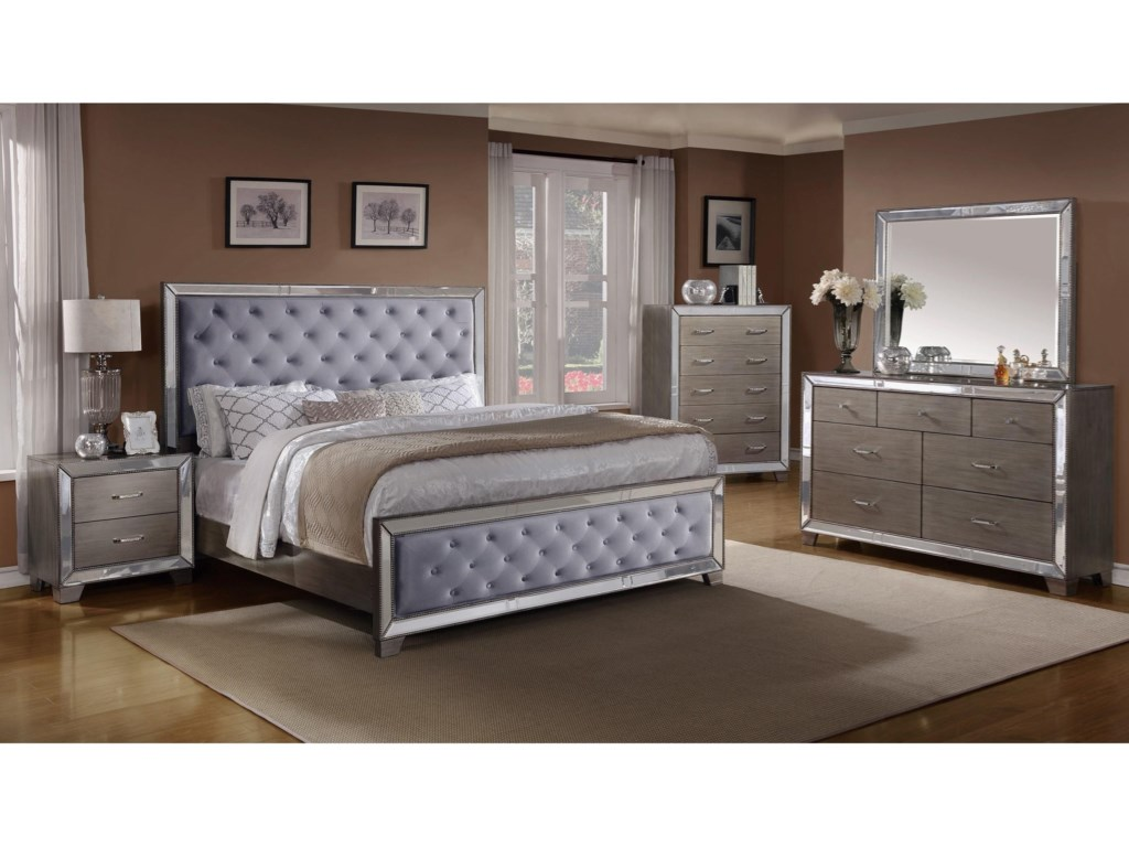Crown Mark Cosette Queen Bedroom Group | Household Furniture ...