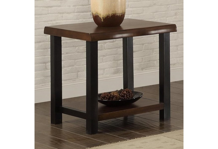 Crown Mark Crane 4160 02 Live Edge End Table With Metal Legs
