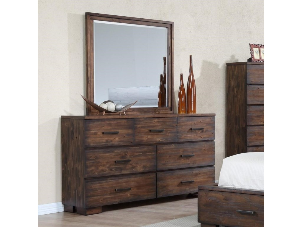 Crown Mark Cranston Solid Wood Rustic Dresser And Mirror Set Rooms