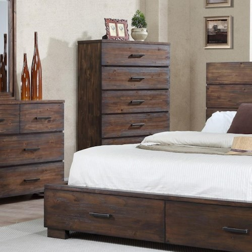 Crown Mark Cranston Solid-Wood Rustic Chest of Drawers