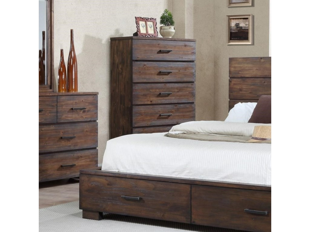 Crown Mark Cranston Solid Wood Rustic Chest Of Drawers Wayside