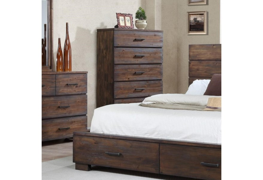 Cranston Solid-Wood Rustic Chest of Drawers by Crown Mark at Dunk & Bright  Furniture
