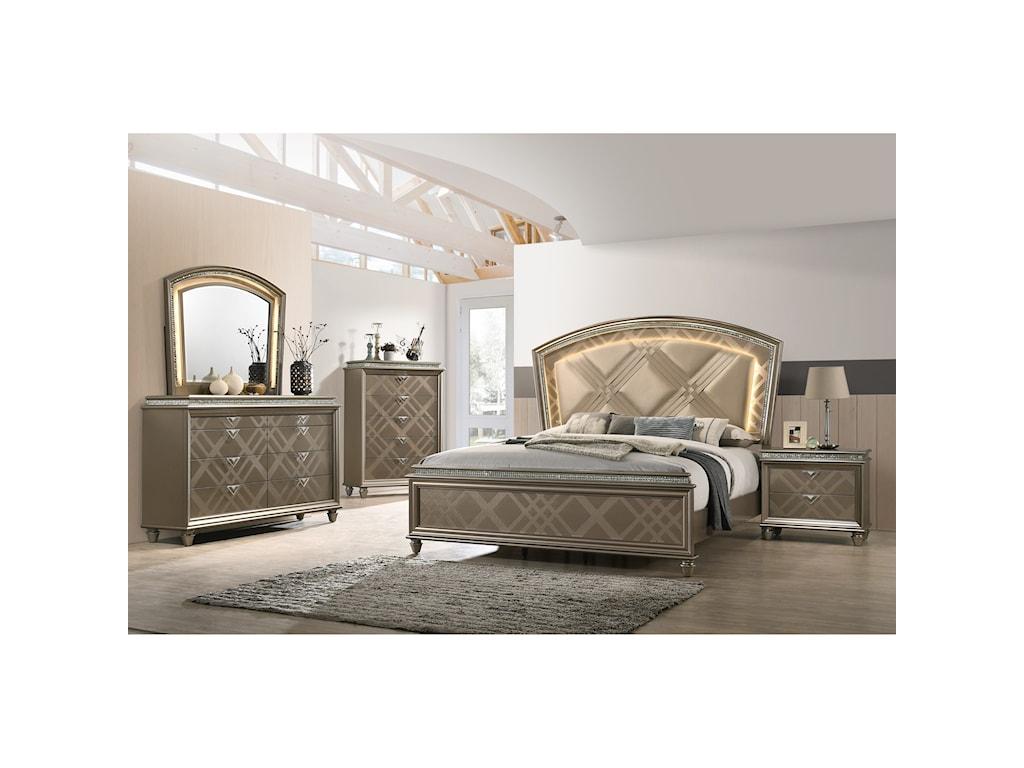 Crown Mark CristalQueen Bedroom Group