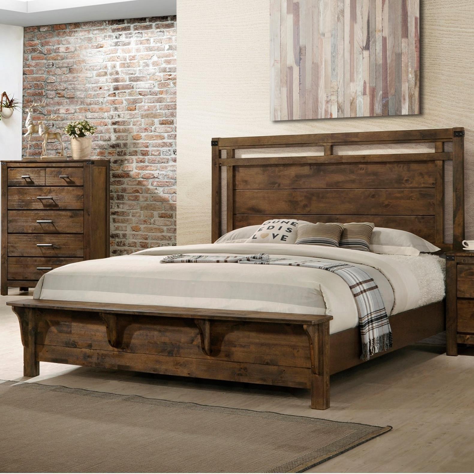 Queen Panel Bed in Rustic Finish