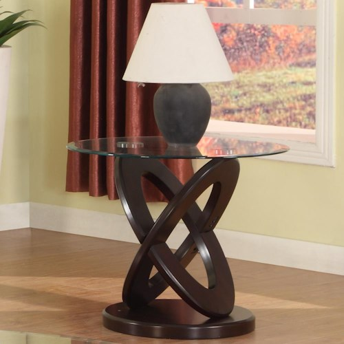 Crown Mark Cyclone Glass Top End Table