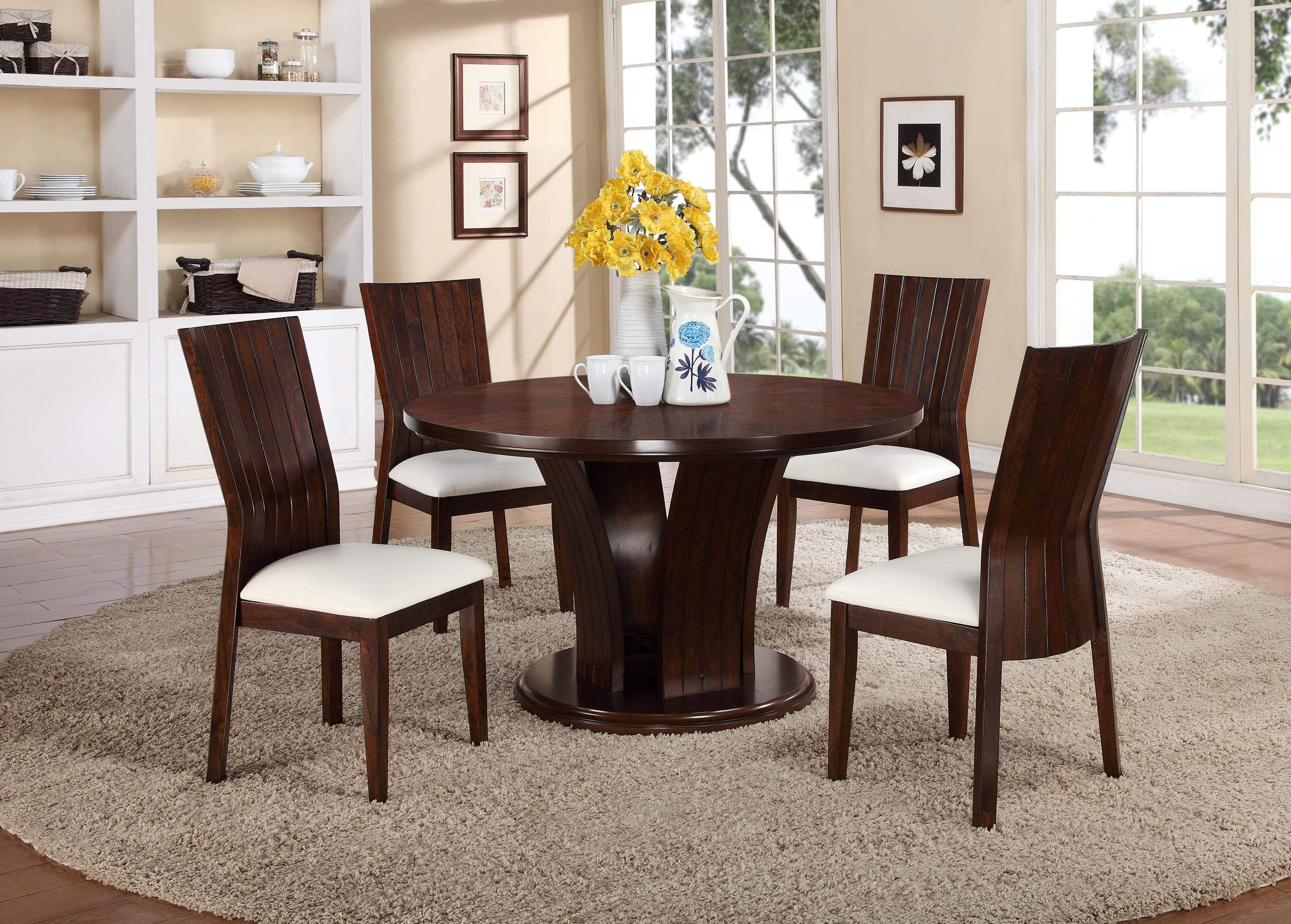 5 Piece Dining Sets crown mark daria 5 piece dining set with round pedestal table and