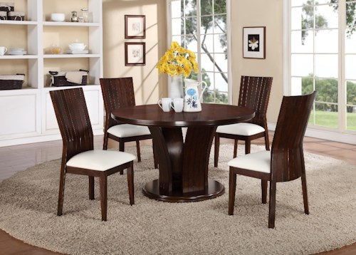 Crown Mark Daria 5 Piece Dining Set with Round Pedestal Table and White Upholstered Side Chairs
