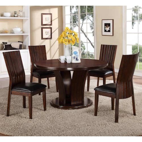 Crown Mark Daria 5 Piece Dining Set with Round Pedestal Table and Black Upholstered Side Chairs