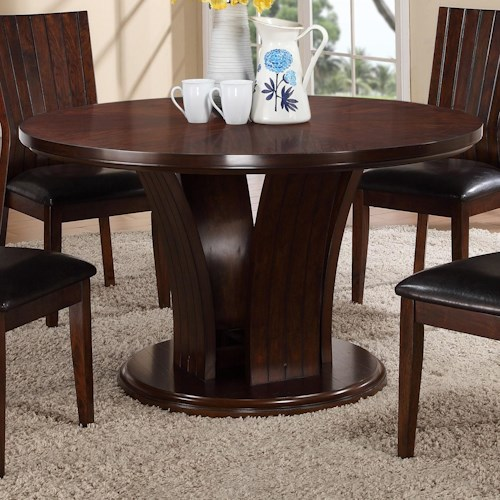 Crown mark daria round kitchen table with pedestal base for Furniture r us fayetteville nc