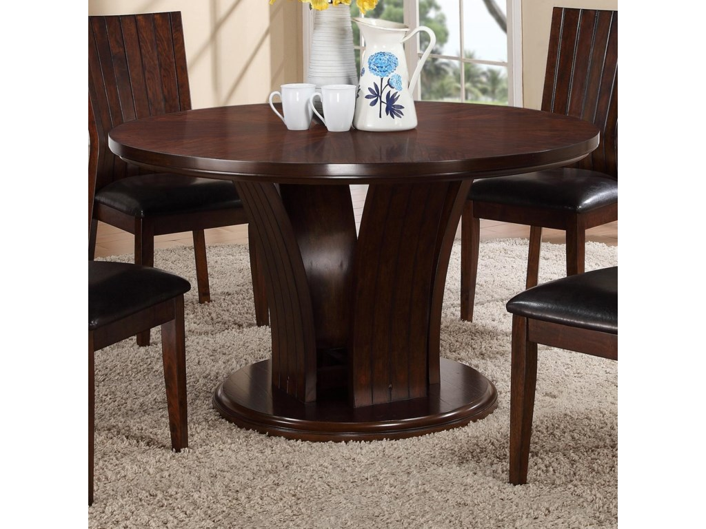 Crown Mark Daria Round Kitchen Table With Pedestal Base Darvin - Round kitchen table pedestal base