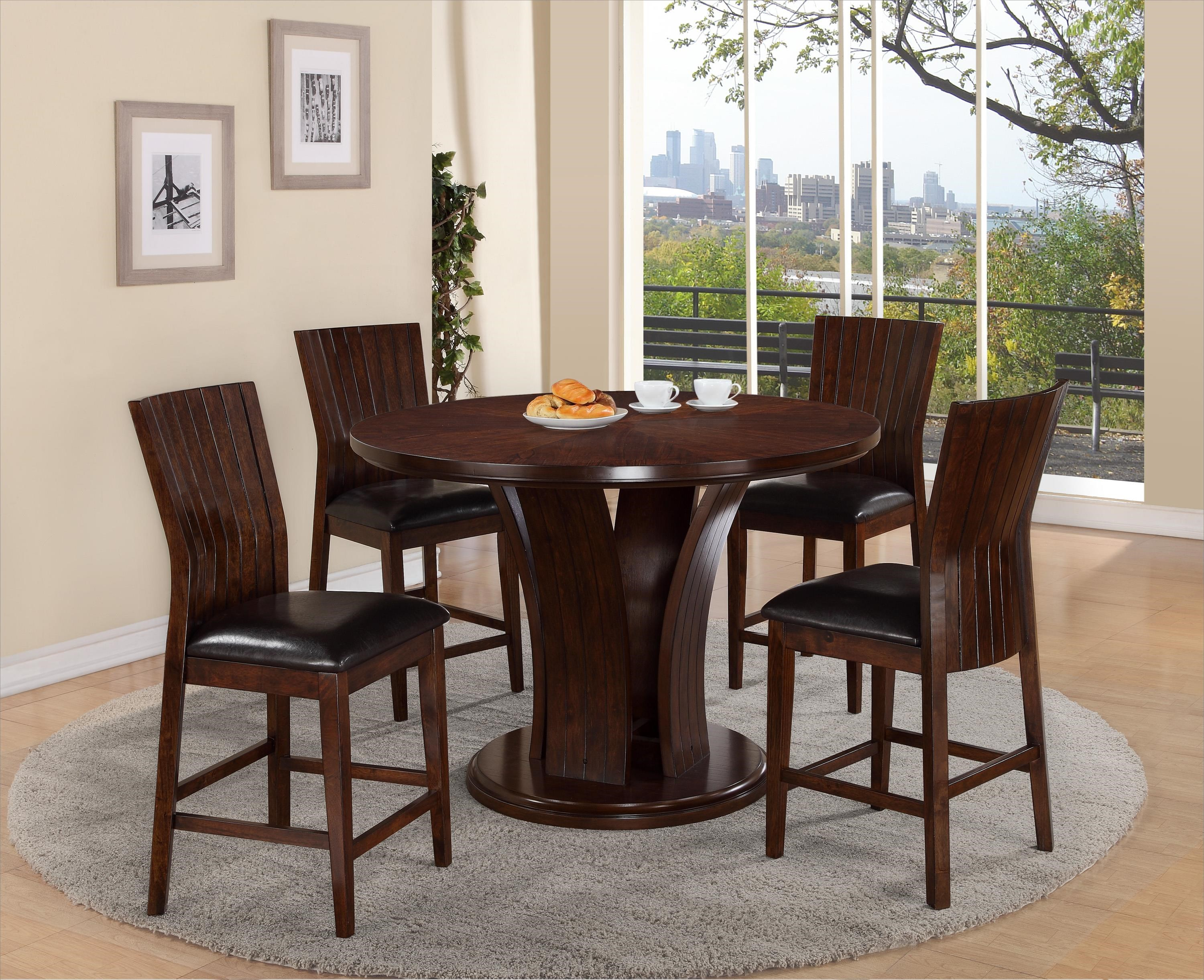 Crown Mark Daria Round Pub Height Dining Table and Stool Set & Crown Mark Daria Round Pub Height Dining Table and Stool Set ...
