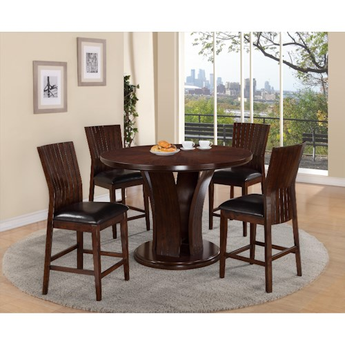 Crown Mark Daria Round Pub Height Dining Table and Stool Set ...