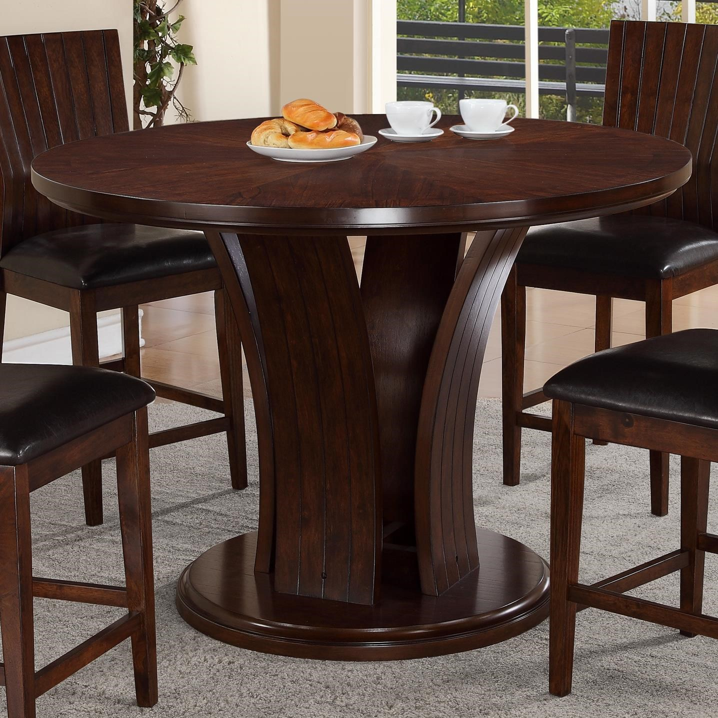 Crown Mark Daria Contemporary Counter Height Round Table With Pedestal Base