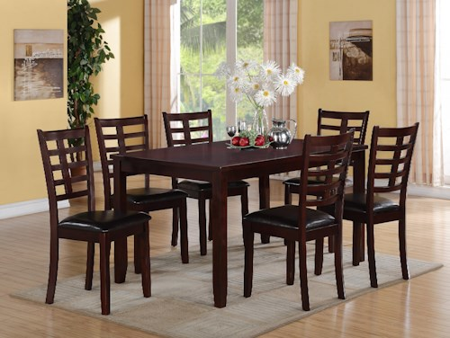 Crown Mark Darren 7-PK Dinette Set with 1 Table & 6 Chairs