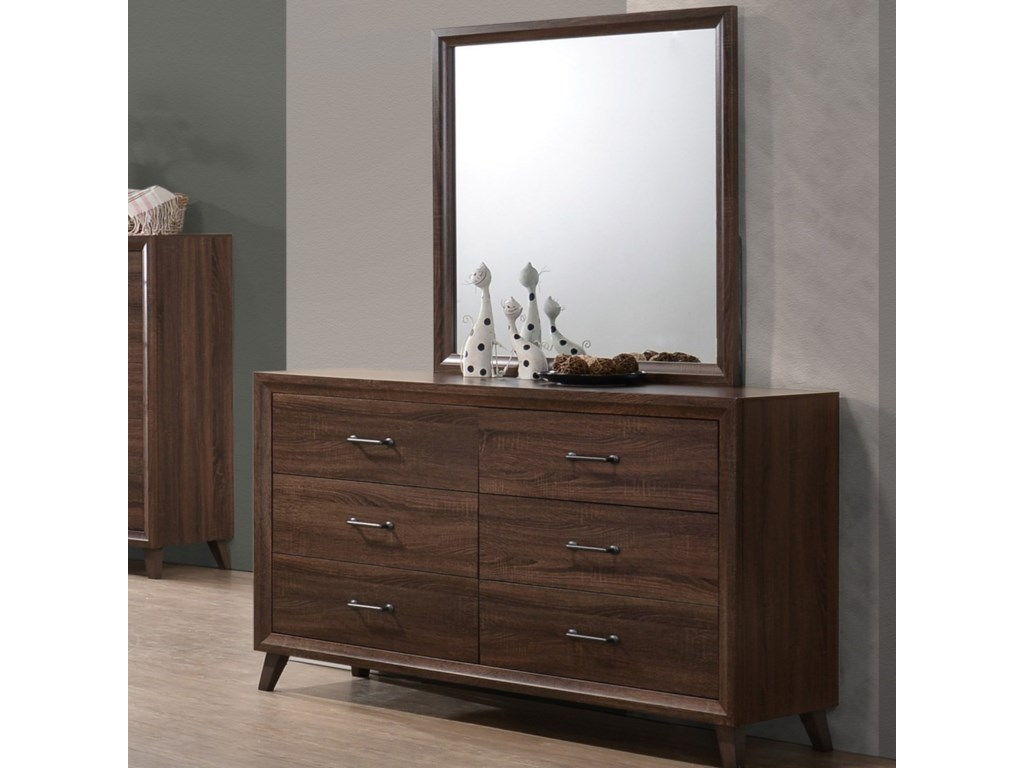 . Darryl Mid Century Modern Dresser and Mirror Combination with 6 Drawers by  Royal Fair at Ruby Gordon Home