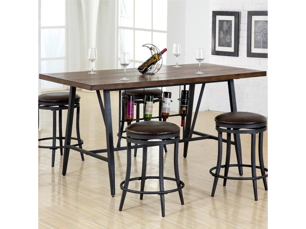 David Counter Height Table With Wine Storage Dream Home Furniture