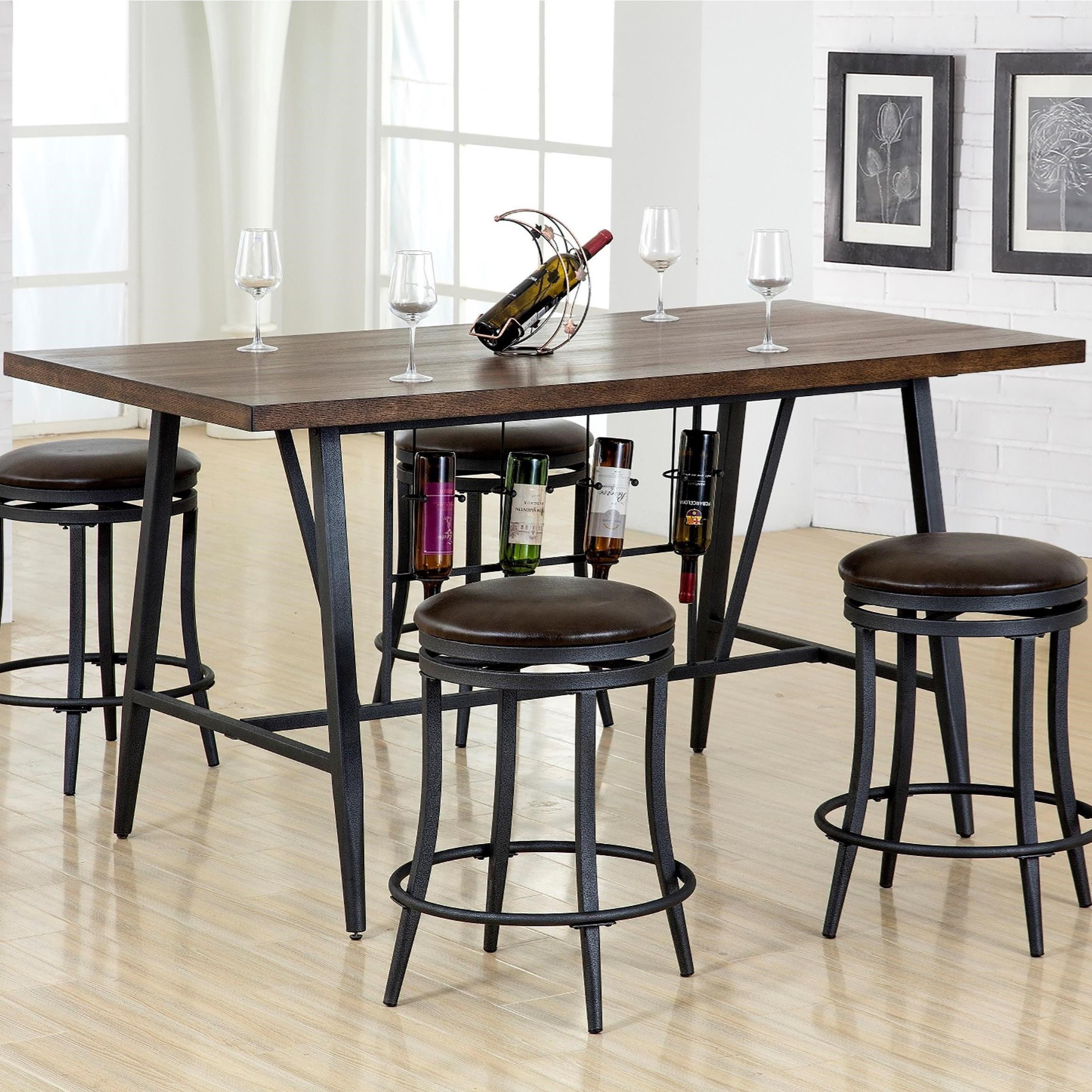 Crown Mark David Counter Height Table With Wine Storage