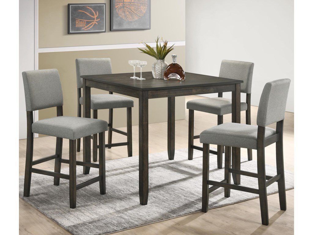 Crown Mark Derick5 Piece Counter Height Table Set