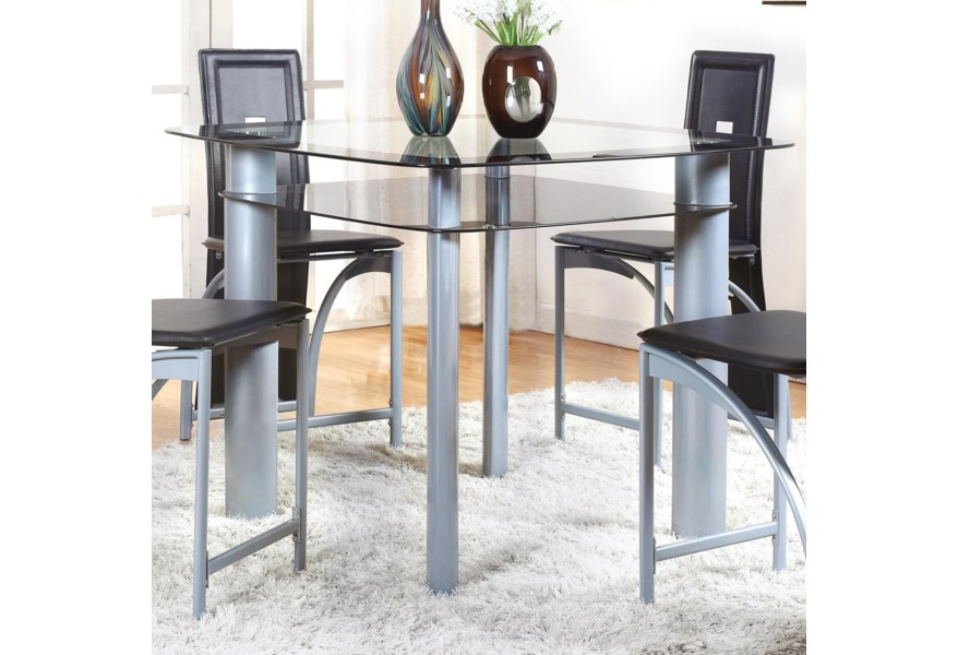Crown Mark Echo Contemporary Counter Height Table With Gl
