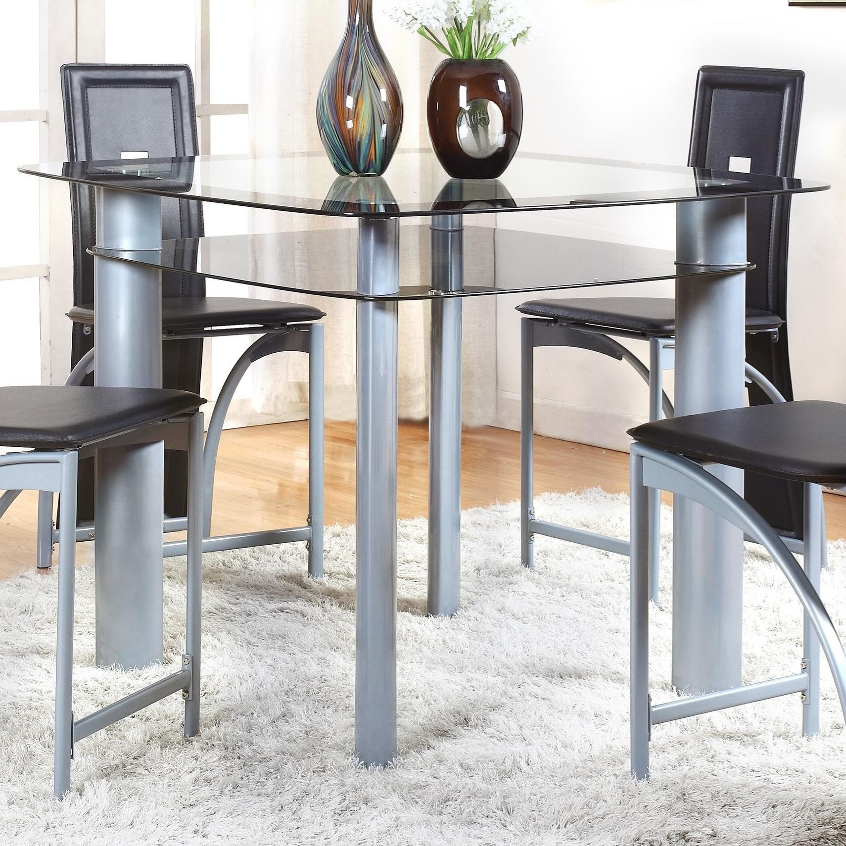 Crown Mark Echo Contemporary Counter Height Table With Glass Shelf