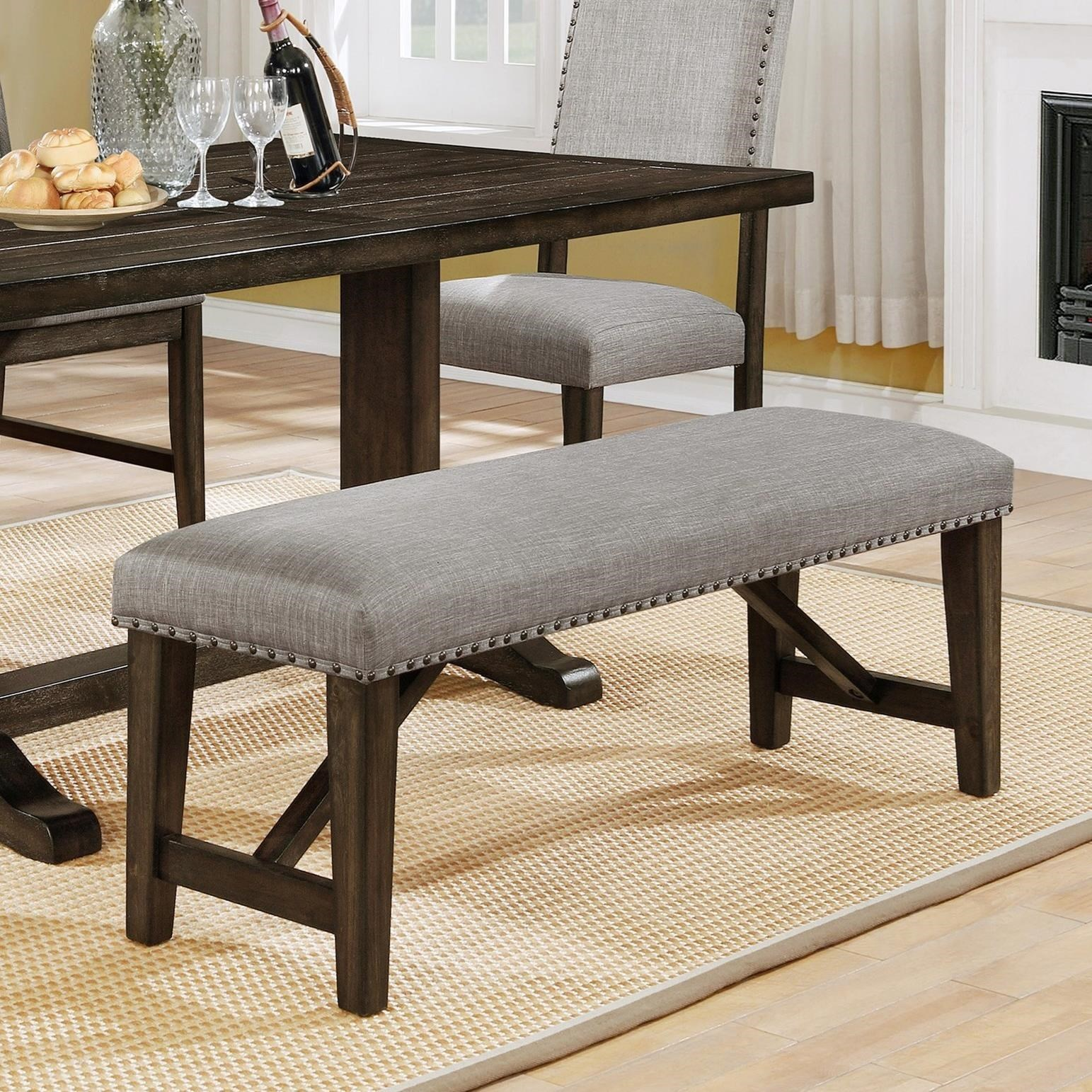 Crown Mark Edwina Upholstered Dining Bench With Nailhead Trim