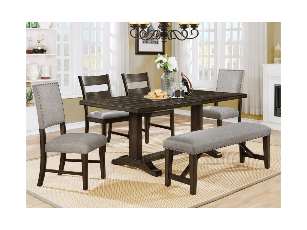 Crown Mark Edwina Dining Room Table Set with Upholstered Bench ...