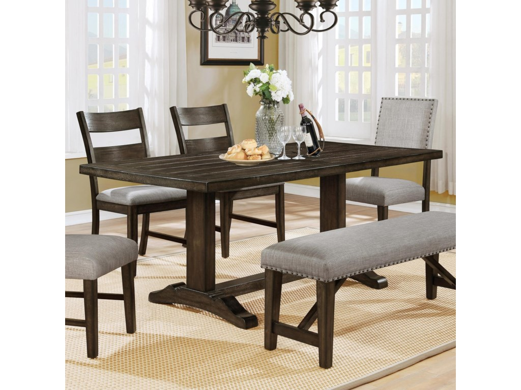 Crown Mark Edwina Dining Table With Plank Top And Double Pedestal Base