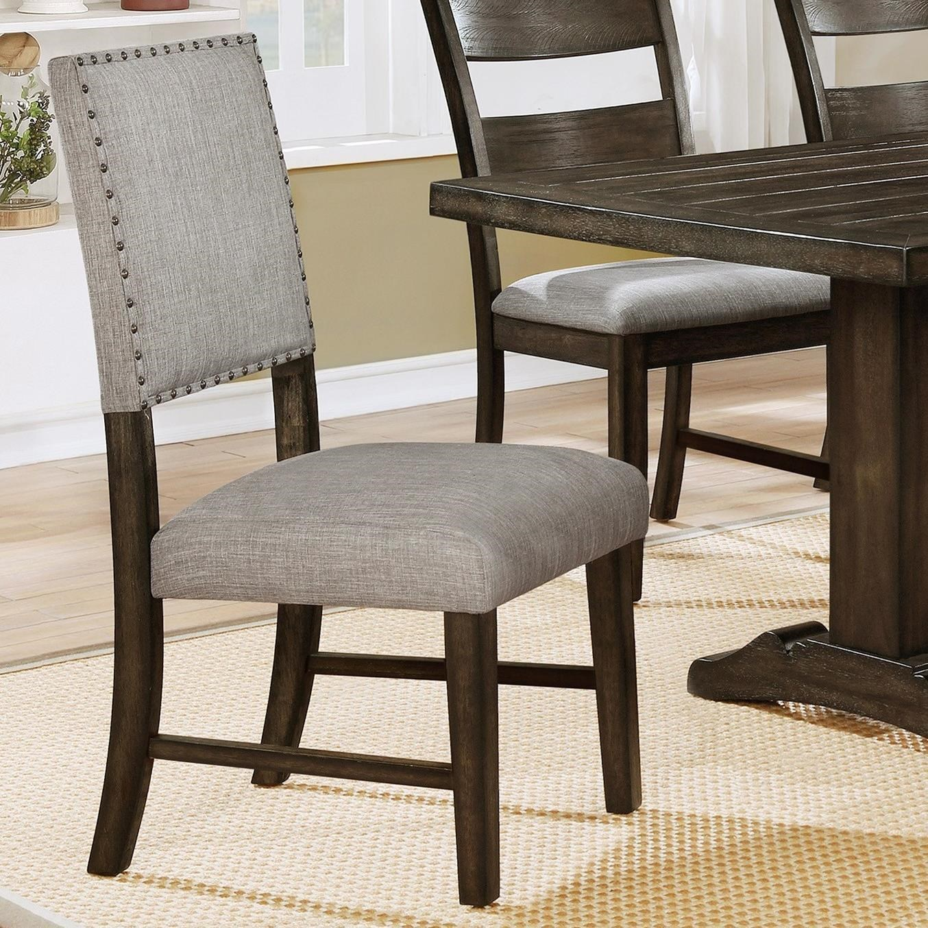 Crown Mark Edwina Upholstered Dining Side Chair With Nailhead Trim