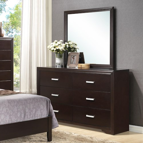 Crown Mark Elijah Transitional Dresser with Simple Metal Hardware and Mirror with Crown Molding