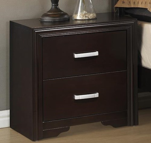 Crown Mark Elijah Transitional Night Stand with Crown Molding and Simple Metal Hardware