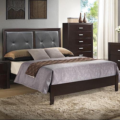 Crown Mark Elijah Queen Upholstered Low Profile Bed