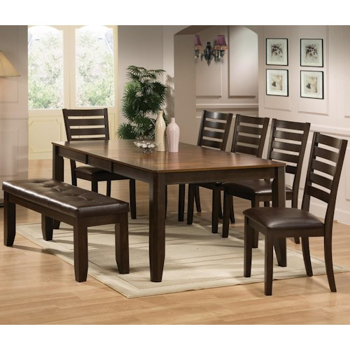 Crown Mark Elliott 7 Piece Dining Table and Chairs Set with Bench