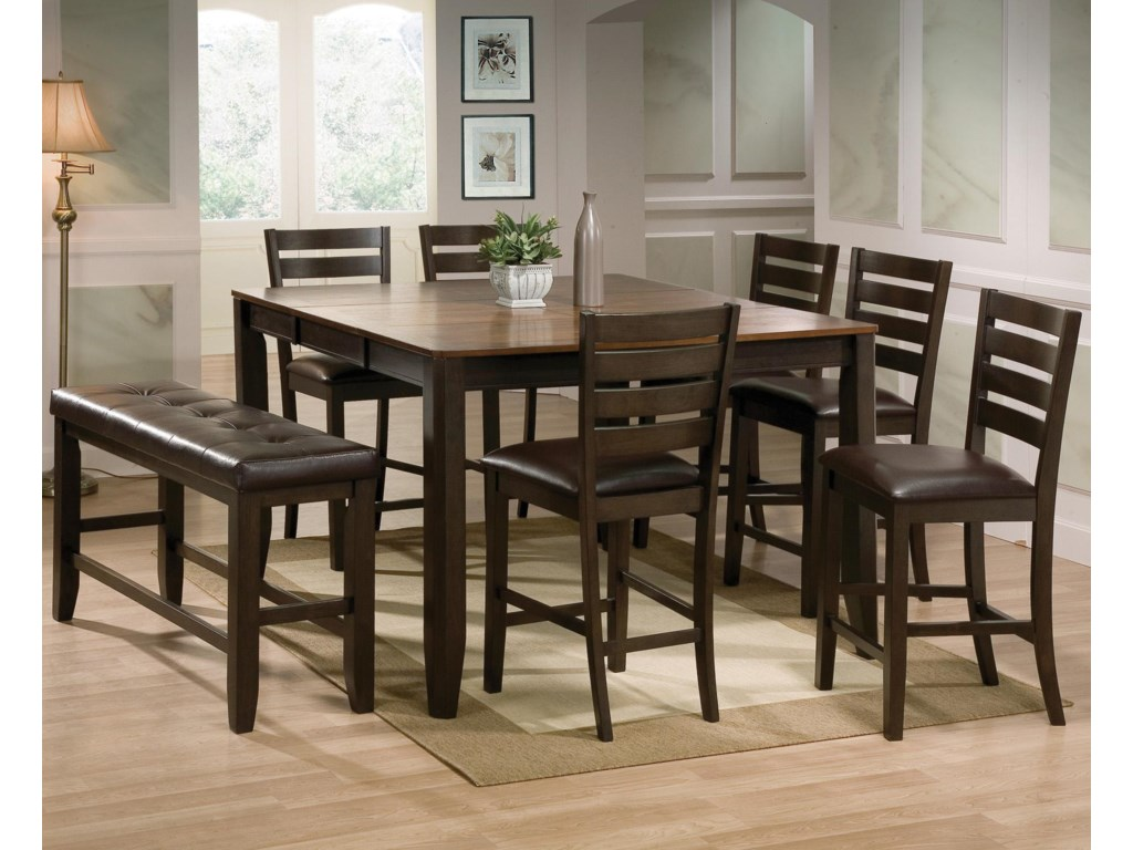 Elliott 8 Piece Counter Height Table And Chairs With Bench Set By Crown Mark