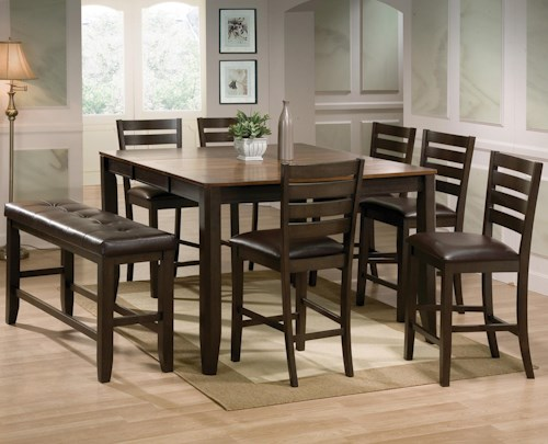 Crown Mark Elliott 8 Piece Counter Height Table and Chairs with Bench Set